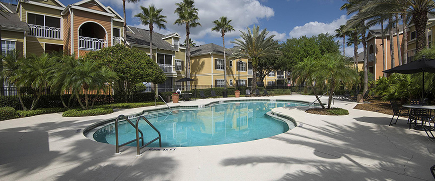 View of an apartment complex pool